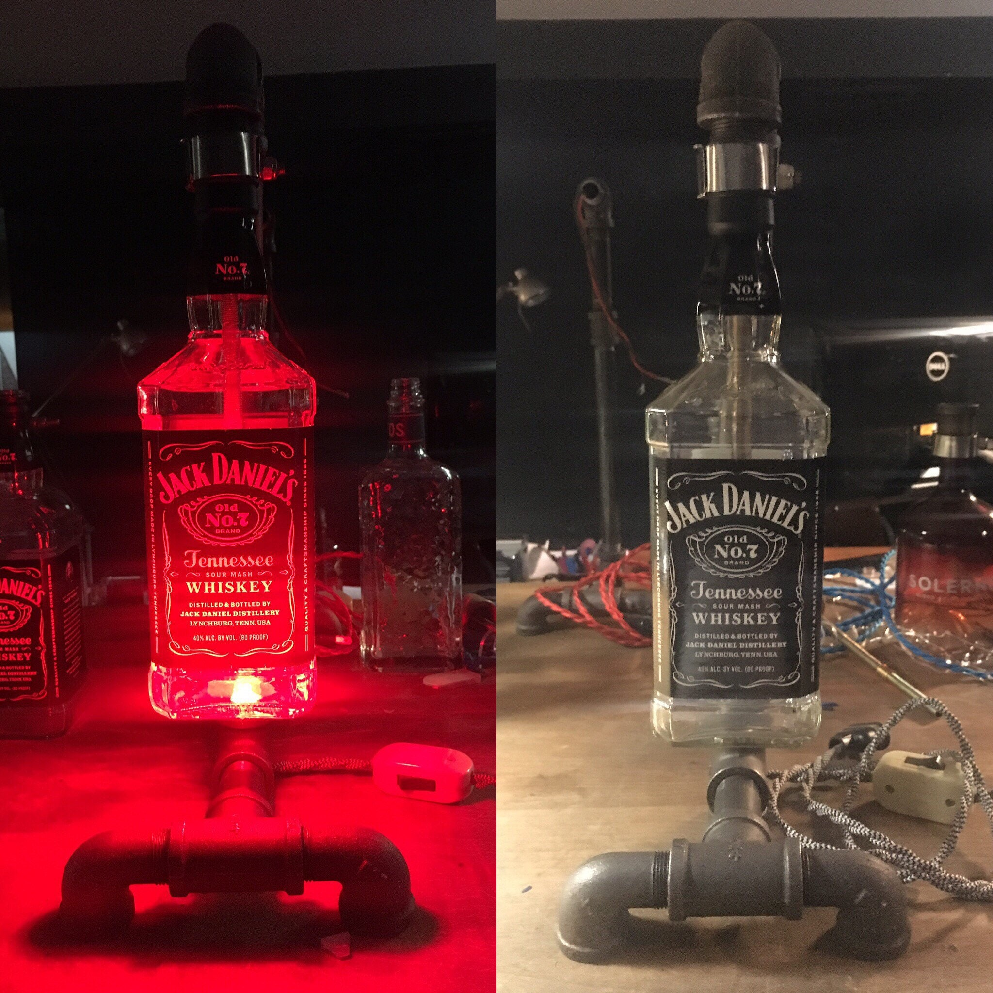 Jack daniels upcycled steel pipe industrial rustic bottle description do you drink jack daniels arubaitofo Choice Image
