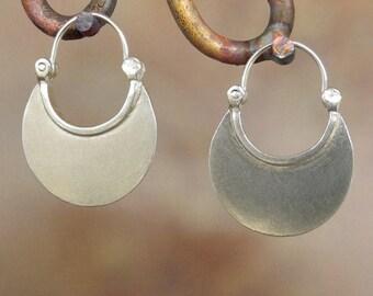 Larger Crescent Moon Earrings -Hoop Earrings - Sterling silver