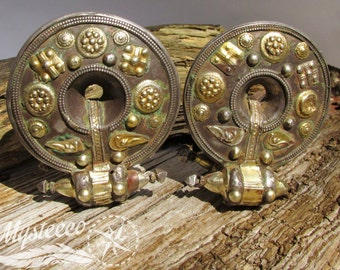 Gold Ear Weights - Authentic Tribal Ear Weights - 1 Pair - Gold Plated Ear Weights - Antique Genuine Ear Weights - 120 years
