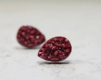 Burgundy Teardrop Druzy Earrings, Wine Colored Faux Drusy, Glittering Bordeaux Chunky Tear Drop Stainless Steel Studs