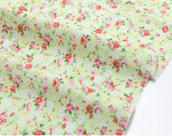 "Cotton Mini Roses (43 x 36"") Rose Garden - Green - per Yard 21121"