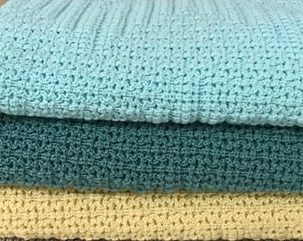 Knitted Baby Blanket,Soft Mint, Mint Green, Light Yellow