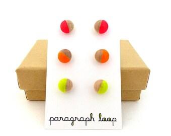 Neon earring set, neon pink earrings, neon orange earrings, neon yellow, button post earrings, little studs, colorful earrings, gift for her