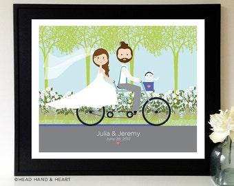 Wedding Portrait, Custom Portrait, Just Married, Bicycle Wedding with Pet, Couple Portrait, Garden portrait