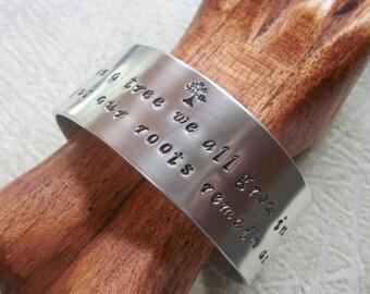 Family Tree Cuff - One Inch Aluminum Cuff - Hand Stamped Cuff Bracelet - Sentimental Gift - Graduate Gift