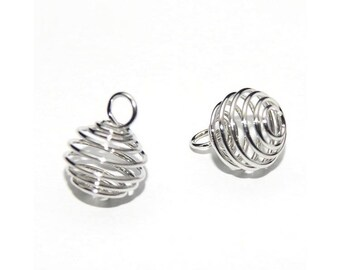 10 spiral cages 8 x 9 silver matte pearl stone set M01304 pendant