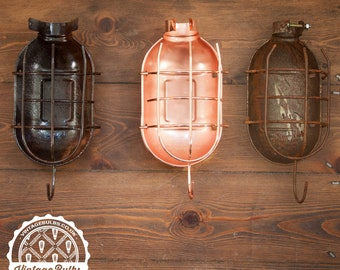 Vintage Industrial Retro metal Work Cage Lamp Guard - Rust or Copper