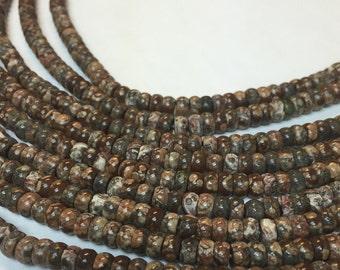 6MM leopard roundelle beads