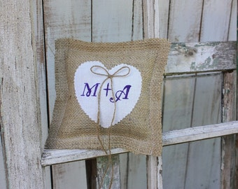 Pillow with white heart personalized with your initials