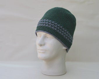 Men's Green and Grey Beanie Crochet Knit Hat Toque Warm Winter Merino Wool Unisex Fall Forest Green Hunter Green Herringbone Stripe