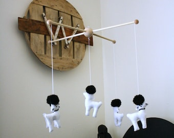 Black and White Poodle Dog Crib Mobile Nursery Decor Gender Neutral