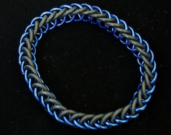 Blue & Black Stretch Chainmaille Bracelet - Half Persian 3-1
