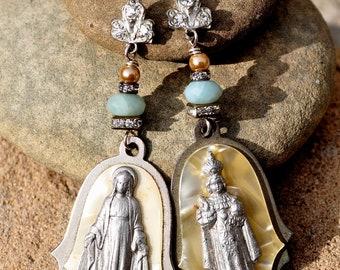 RELIGIOUS MEDAL EARRINGS. Amazonite Earrings. Repurposed Earrings. Religious Assemblage Earrings By Hallowed Adornments.