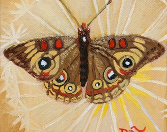 Buckeye Butterfly and Danelion Seed Pod, GREETING CARD - insect art, butterfly painting, butterfly art, yellow