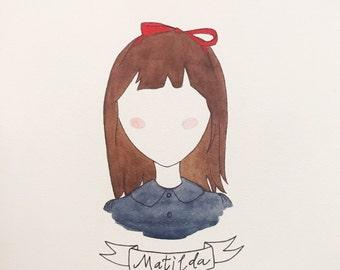 Matilda - Roald Dahl Watercolor Print