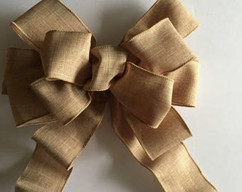 Natural tan bow, wreath bow, decorative bow, bow, large gift bow, decorative bow, pew bow, tree topper bow, tree topper, wired ribbon bow