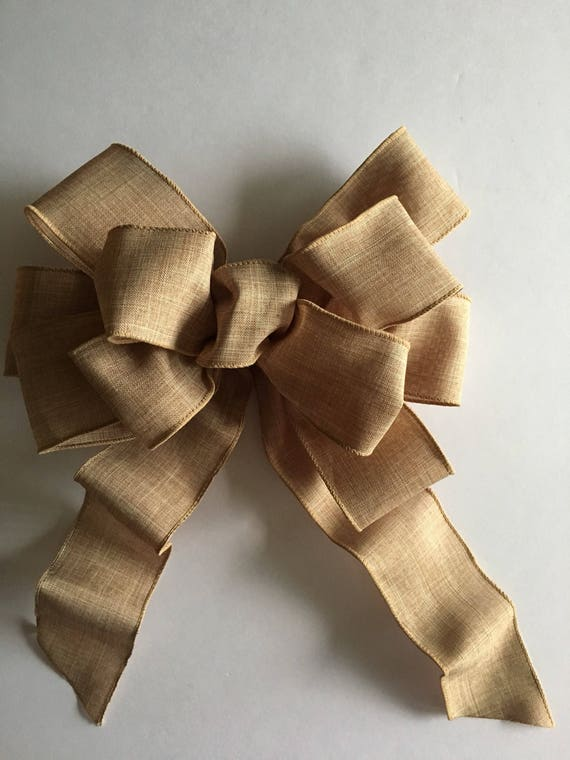 items similar to natural tan bow wreath bow decorative bow bow large gift bow decorative. Black Bedroom Furniture Sets. Home Design Ideas