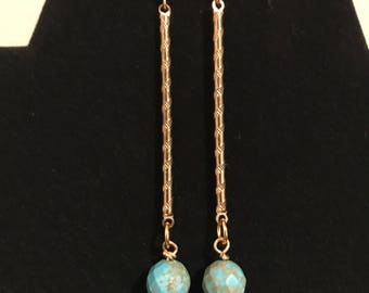Simple Gold and Turquoise Drop Earrings