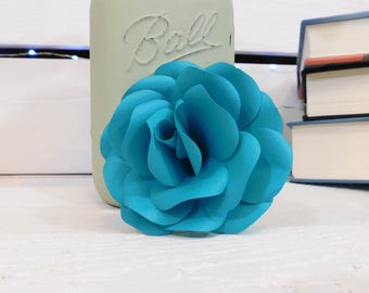Teal Paper Flowers - Paper flowers with stems -  Paper Flower Bouquet - Mother's Day Gift - Wedding Bouquet - Paper Anniversary