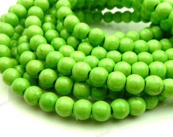 6mm Lime Green Magnesite Gemstone Beads - 15.5 Inch Strand - RoundOpaqueBrown Veining - BE30