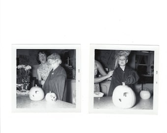 two vintage halloween carving pumpkins snaps