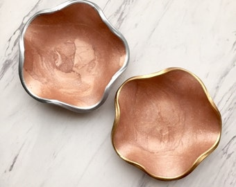 Rose Gold Luxe Jewelry Dish, Catch-Alls Container, Buyer's Choice, Modern Minimalist Decor, Handmade Gifts for Her, Rose Gold Trinket Dish