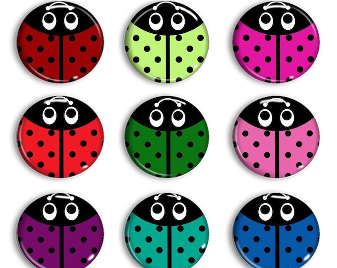 Lady Bug Magnets - Tic tac toe board game -Party Favors - Refridgerator Magnets - Unique Gifts - Cubicle Decor - Pin - Buttons