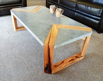 Custom Handmade Polished Charcoal Concrete With Hardwood Timber Feature  1.2m X 600mm Modern, Unique,