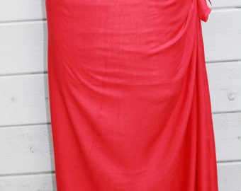 RED color-Pareo-solid color-full  and half sized, plus size-rayon- sarong-, pareau-fringeless-Tahitian costume, Tahitian pareo,