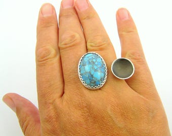 Turquoise & Sterling Silver Ring, Silver Double Finger Ring, Turquoise Two Finger Ring, Statement Ring, Large Turquoise Ring, Handmade Ring