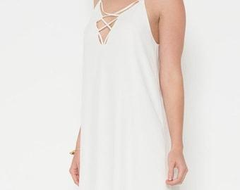 White Cutout Slip Dress