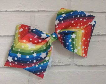 "Large 8"" Bright Rainbow Swirls & Stars Boutique Hair Bow with alligator clip like JoJo Siwa Bows Dance Moms Signature Keeper Cheer"