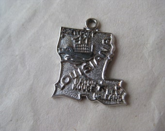 Louisiana Sterling Charm Silver Vintage 925 Wells Pelican State
