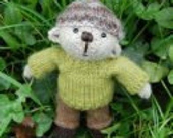 Gethin a hand made pocket size teddy bear knitted in pure Shetland wool