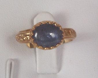 Tanzanite gemstone ring -  Promise ring - Dark Blue Tanzanite Gemstone Ring- textured ring - - Gold Ring - vermeil-Gold-Sterling Silver