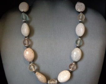 Lucite Sandstone Bead Necklace - New with Lucite tag - Vintage