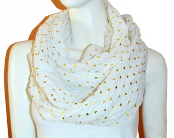 White Light Weight All Season Heart Gliding Crinkle Infinity Scarf  Loop Cowl