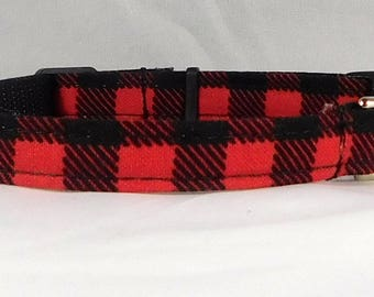 Cat Collar or Kitten Collar - Buffalo Plaid