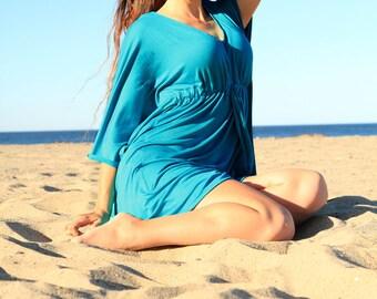 Kaftan Mini Dress - Boho Style Caftan in Teal Jersey Knit - Lots of Colors