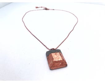 Copper dipped rectangular concrete gem necklace