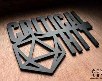 Critical Hit Wall Art Sign - Dungeons and Dragons Tabletop Gaming Game Room Wall Art Decor