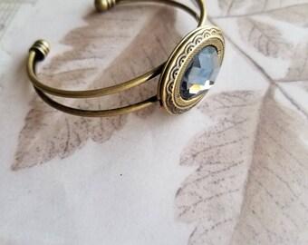 "Brass vintage inspired locket cuff bracelet with gray jewel. ""Lady Gray."""