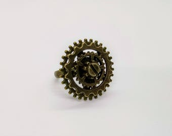 Steampunk Ring with Cogs Gears