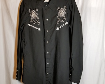 Vtg H Bar C California Ranchwear Western Shirt 17 35 Rosebud Black White Snap  Cowboy