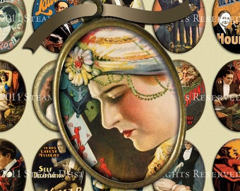 Vintage & Victorian Magic and Magicians - 30x40mm Cameo-Size Oval Images - Digital Collage Sheet - Instant Download and Print