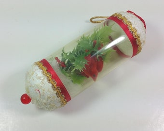 KITSCHY CHRISTMAS ORNAMENT, 1970's, Plastic Tube  with Plastic Holly & Red Bird, Vintage Unusual, Embellished Holiday Decor