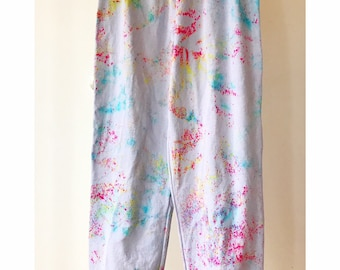 Hand Dyed Cotton Sweat Pants in Birthday Cake, Anna Joyce, Portland, OR. Tie Dye, Cuff