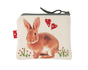 Rabbit Coin Purse, Small Zipper Bag, Cute Change Purse, Bunny Gifts