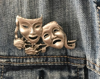 Happy Sad Brooch Pin Jewelry Vintage Silver Metal