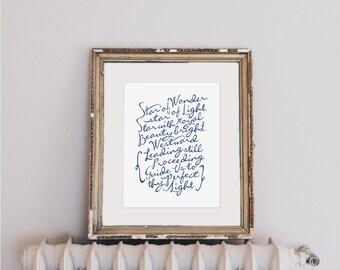 "We Three Kings (Star of Wonder, Star of Light)  | 8x10"" Calligraphy Print (Digital Download), Holiday Decor, Christmas Decor, Hymn Art Print"